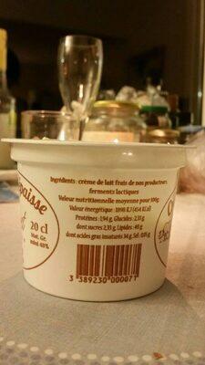 Crème crue épaisse - Nutrition facts - fr