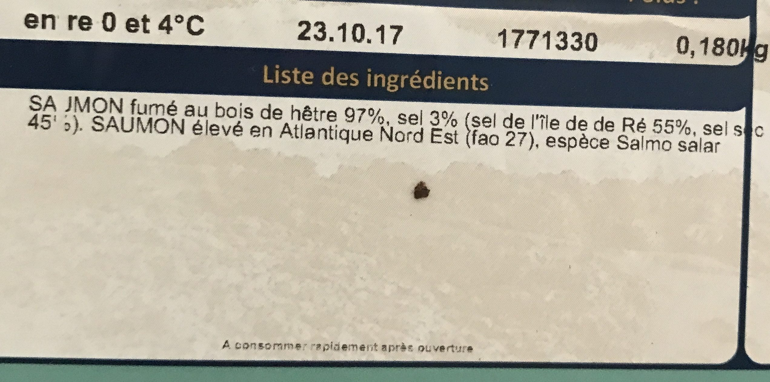 Saumon fumé de l'Atlantique au sel de l'ile de Ré 4 tranches - Ingredients