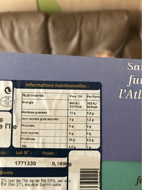 Saumon fumé de l'Atlantique au sel de l'ile de Ré 4 tranches - Nutrition facts