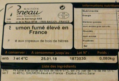 Saumon fumé de France élevé en Normandie premier cru - Ingredients
