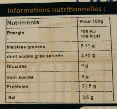 Saumon fumé de France élevé en Normandie premier cru - Nutrition facts