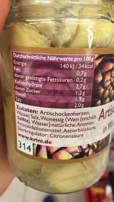 Krini Cœurs d'artichauts dans l'eau - Nutrition facts