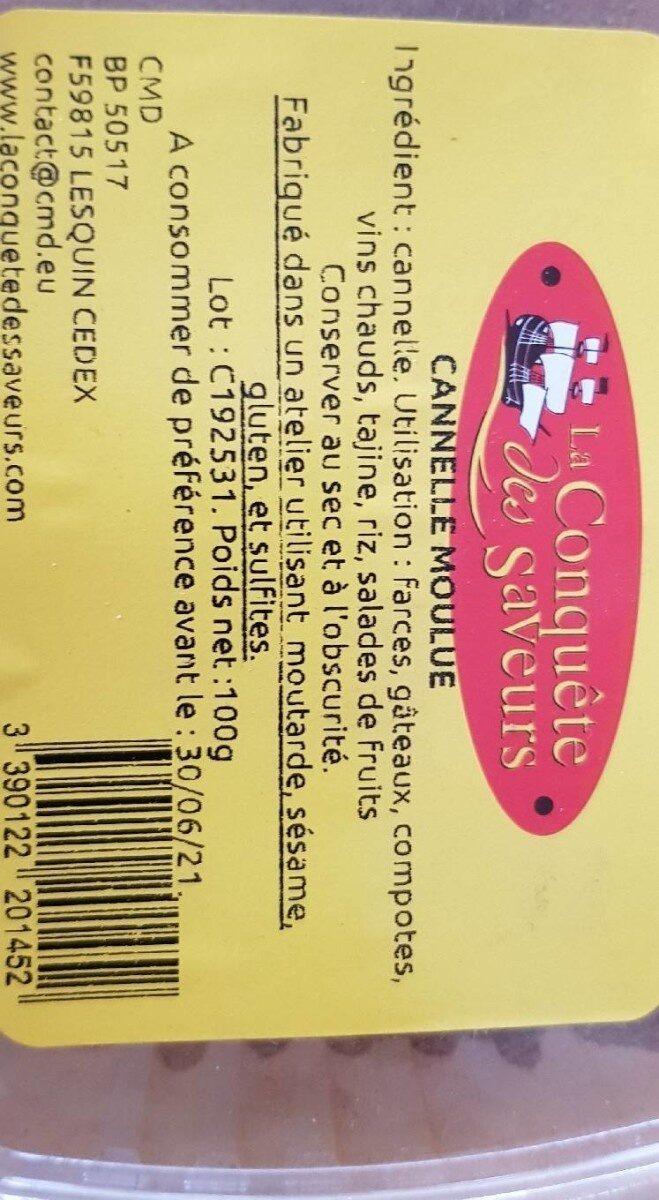Cannelle Moulue - Informations nutritionnelles