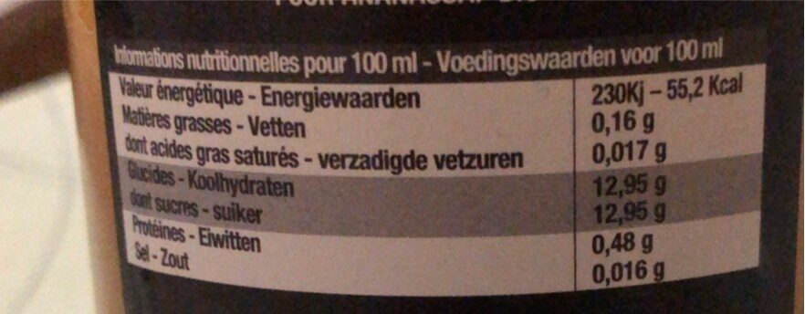 Jus d'ananas - Nutrition facts - fr