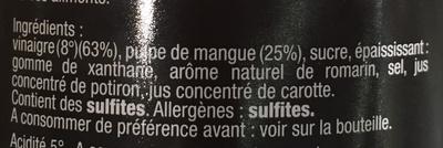 Spécialité de vinaigre à la mangue (Acidité 5°) - Ingredients