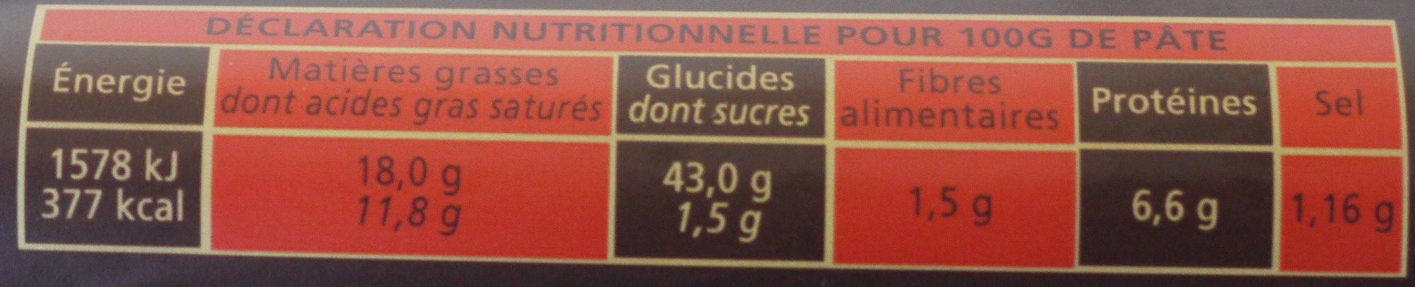 brisée - Nutrition facts