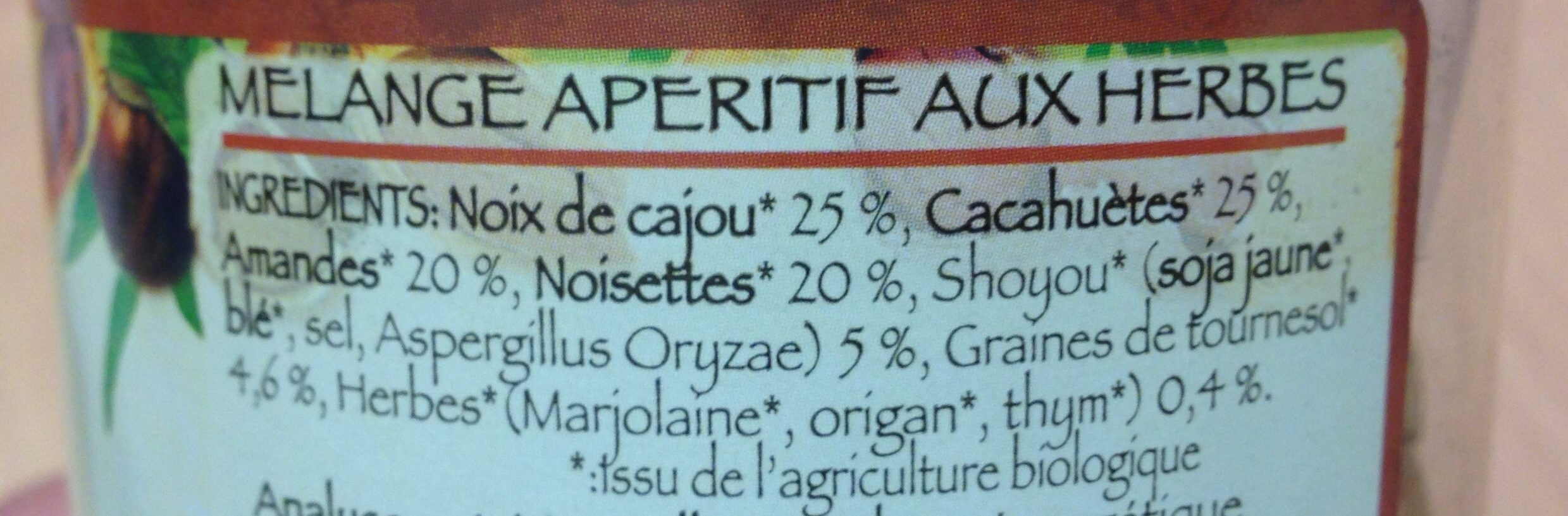 Mélange apéritif aux herbes - Ingrédients