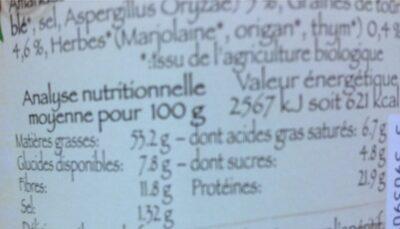 Mélange apéritif aux herbes - Informations nutritionnelles