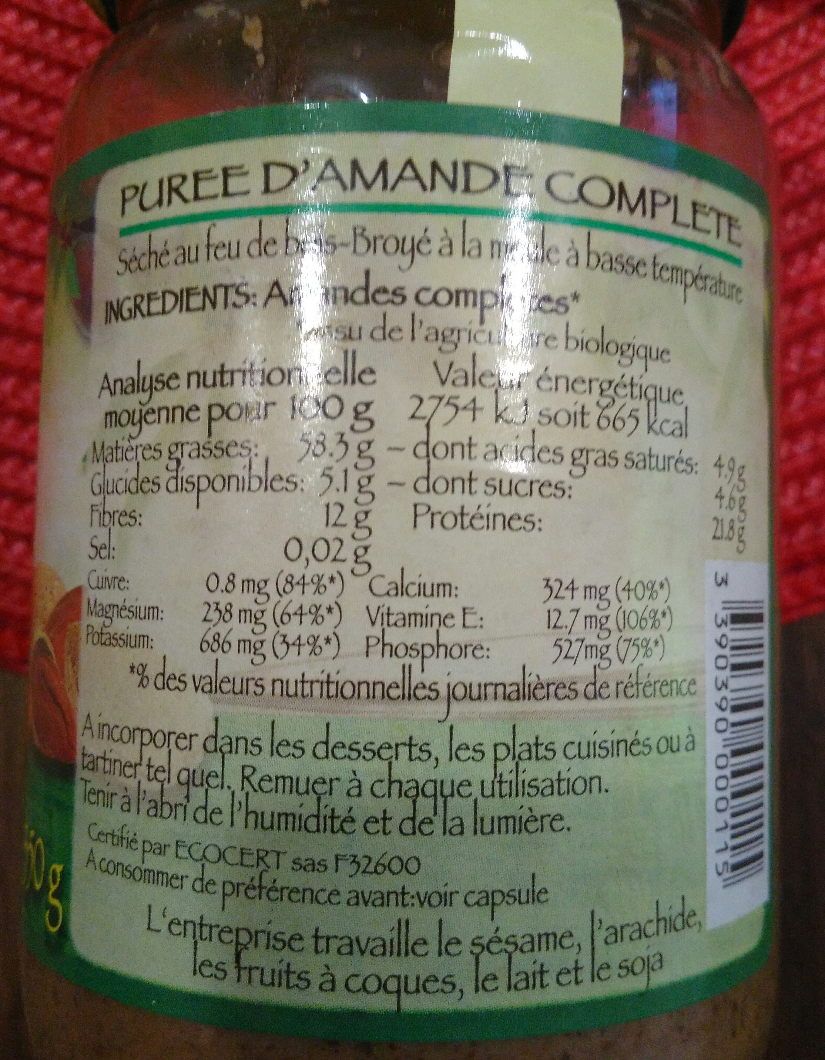 Purée Amande Complete - Ingrediënten - fr