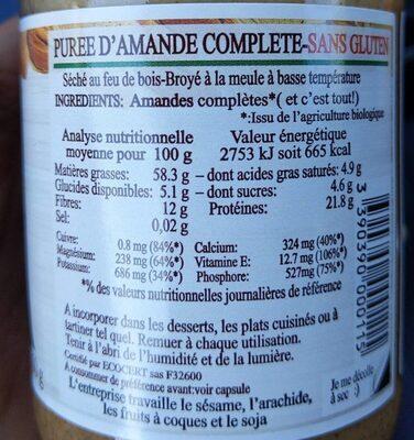Purée amande complète - Informations nutritionnelles - fr