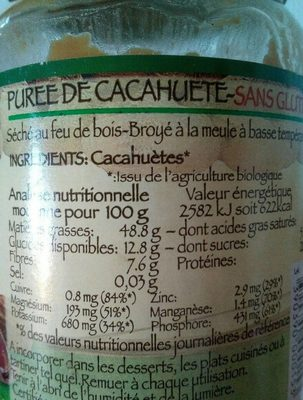 Purée cacahuète - Voedingswaarden