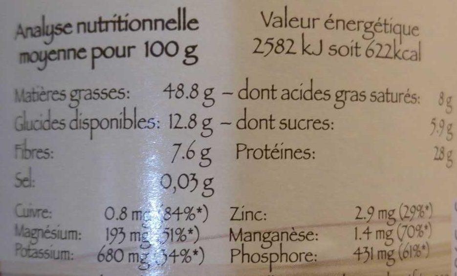Purée cacahuète - Voedigswaarden