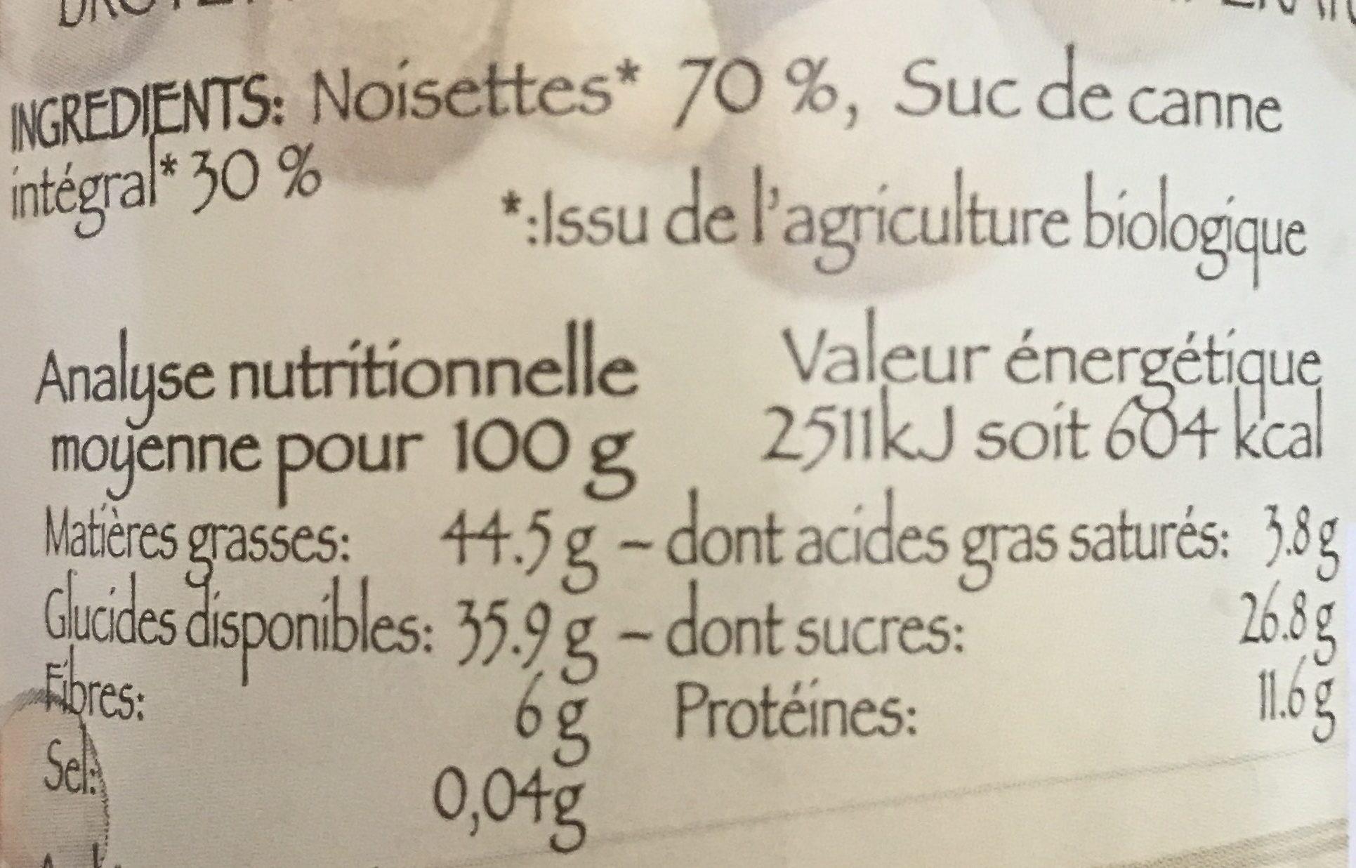 Noisette au Suc de Canne Intégral - Informations nutritionnelles