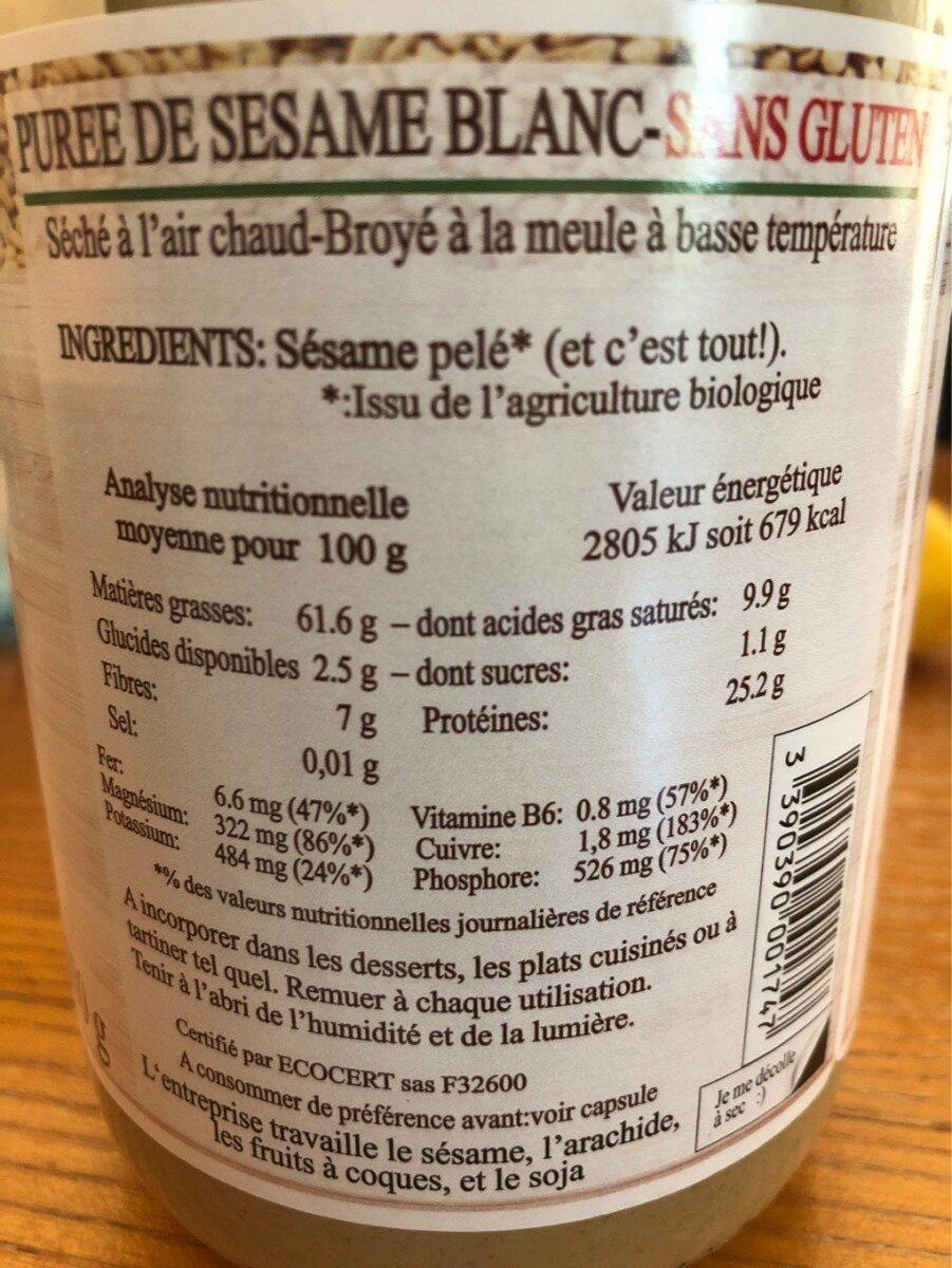 Purée Tahin Sésame blanc - Nutrition facts - fr
