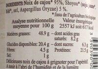 NOIX DE CAJOU AU SHOYOU - Nutrition facts - fr