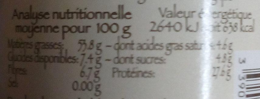 Poudre d'amande - Informations nutritionnelles - fr
