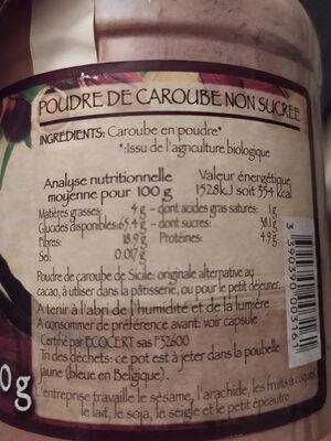 Poudre de Caroube Bio - Informations nutritionnelles