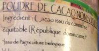 POUDRE CACAO - Ingrédients - fr