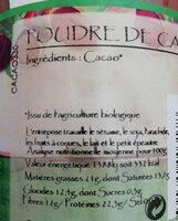 POUDRE CACAO - Informations nutritionnelles - fr