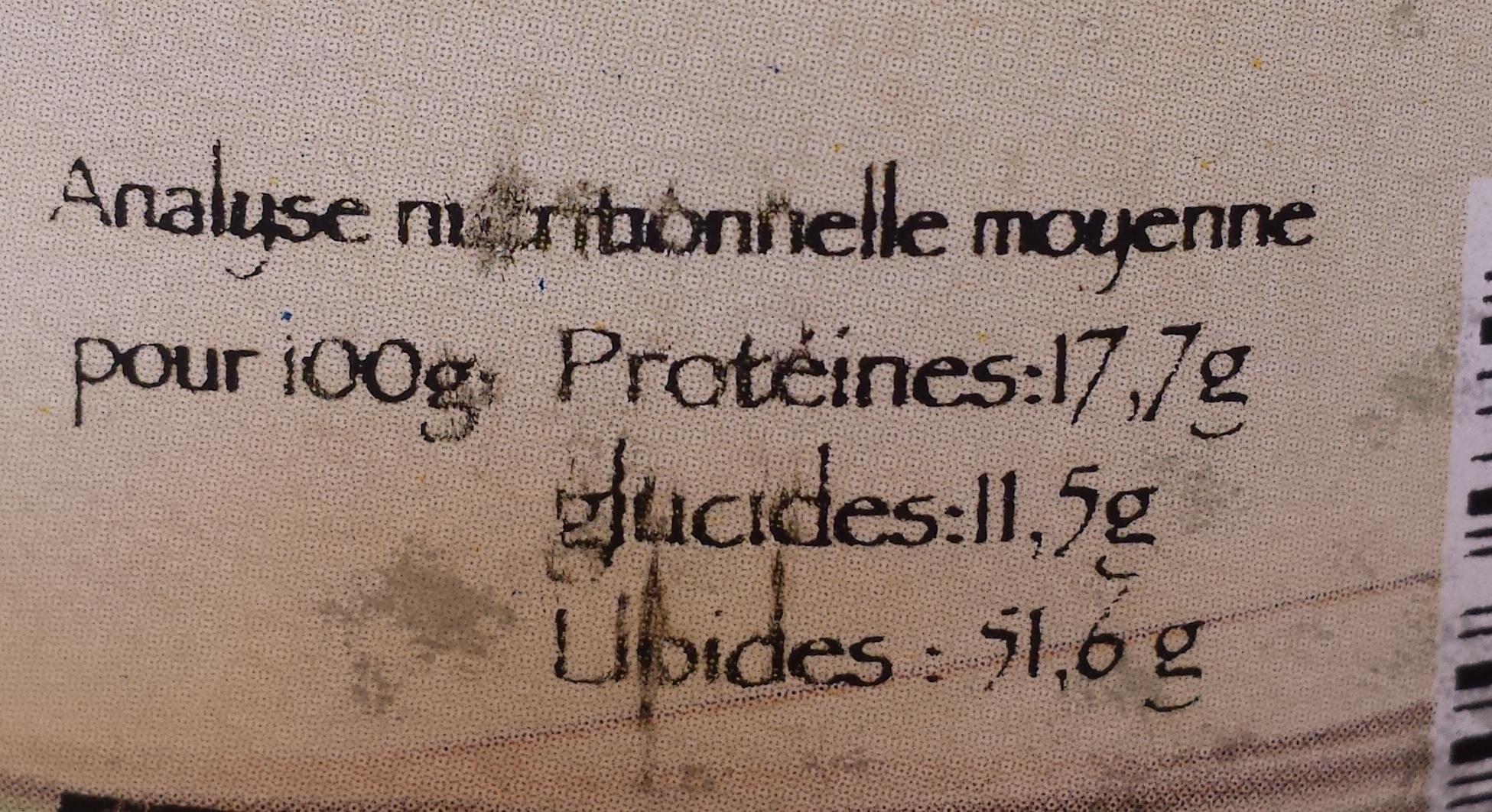 Purée de pistaches - Valori nutrizionali - fr
