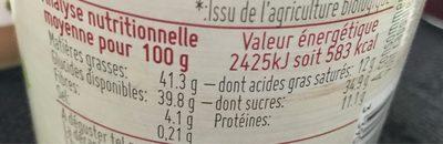 Pâte à tartiner noisette cacao - Valori nutrizionali