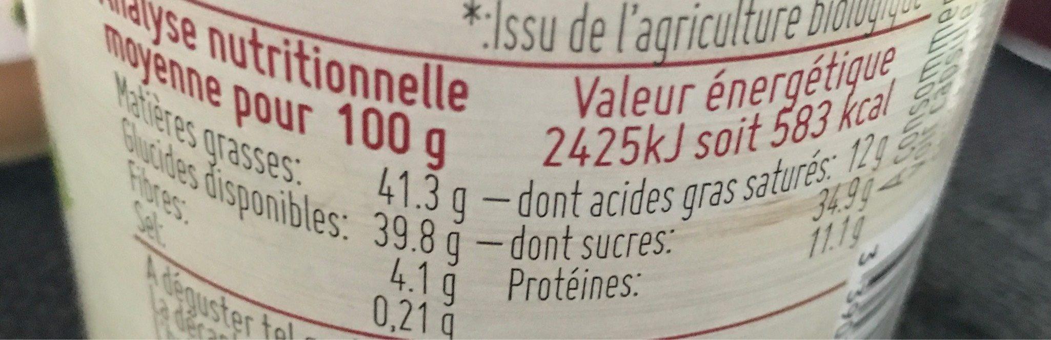Pâte à tartiner noisette cacao - Valori nutrizionali - fr