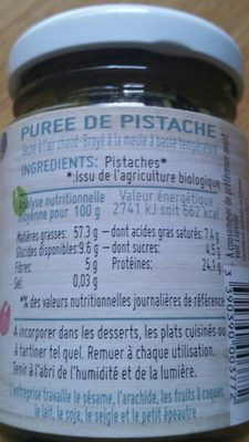 Purée De Pistache Bio - Ingrédients - fr
