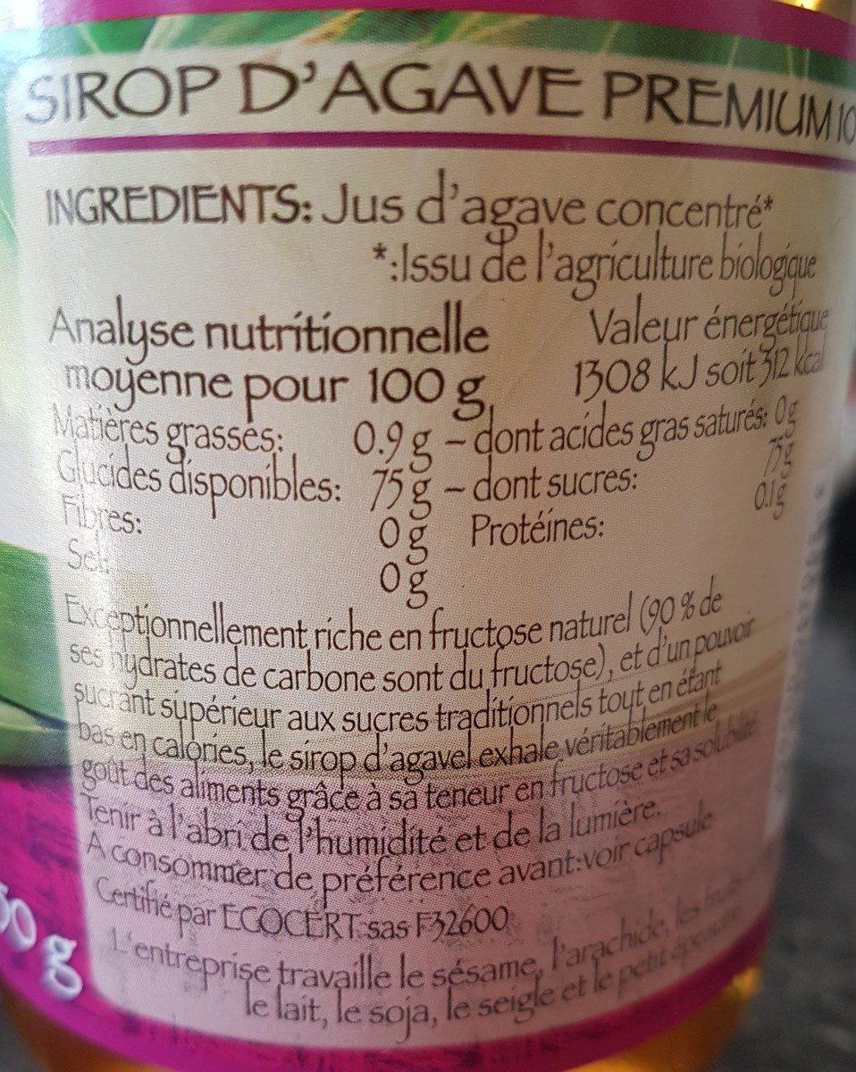 Sirop d'agave - Ingrédients - fr