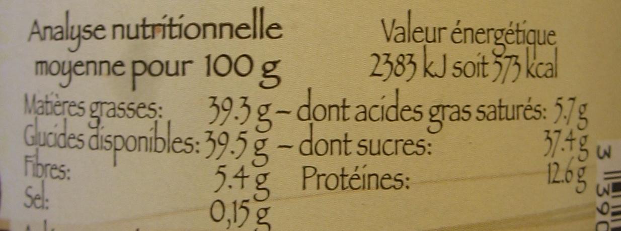 Chocolade Sans Huile de Palme - Nutrition facts - fr