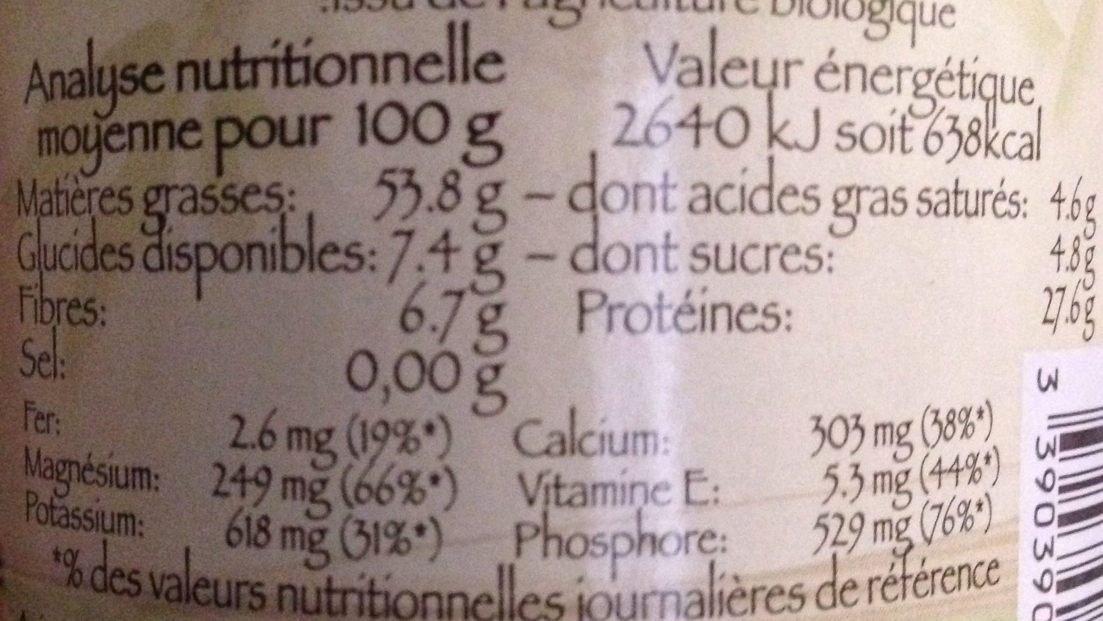 Purée d'Amande Blanche - Informations nutritionnelles