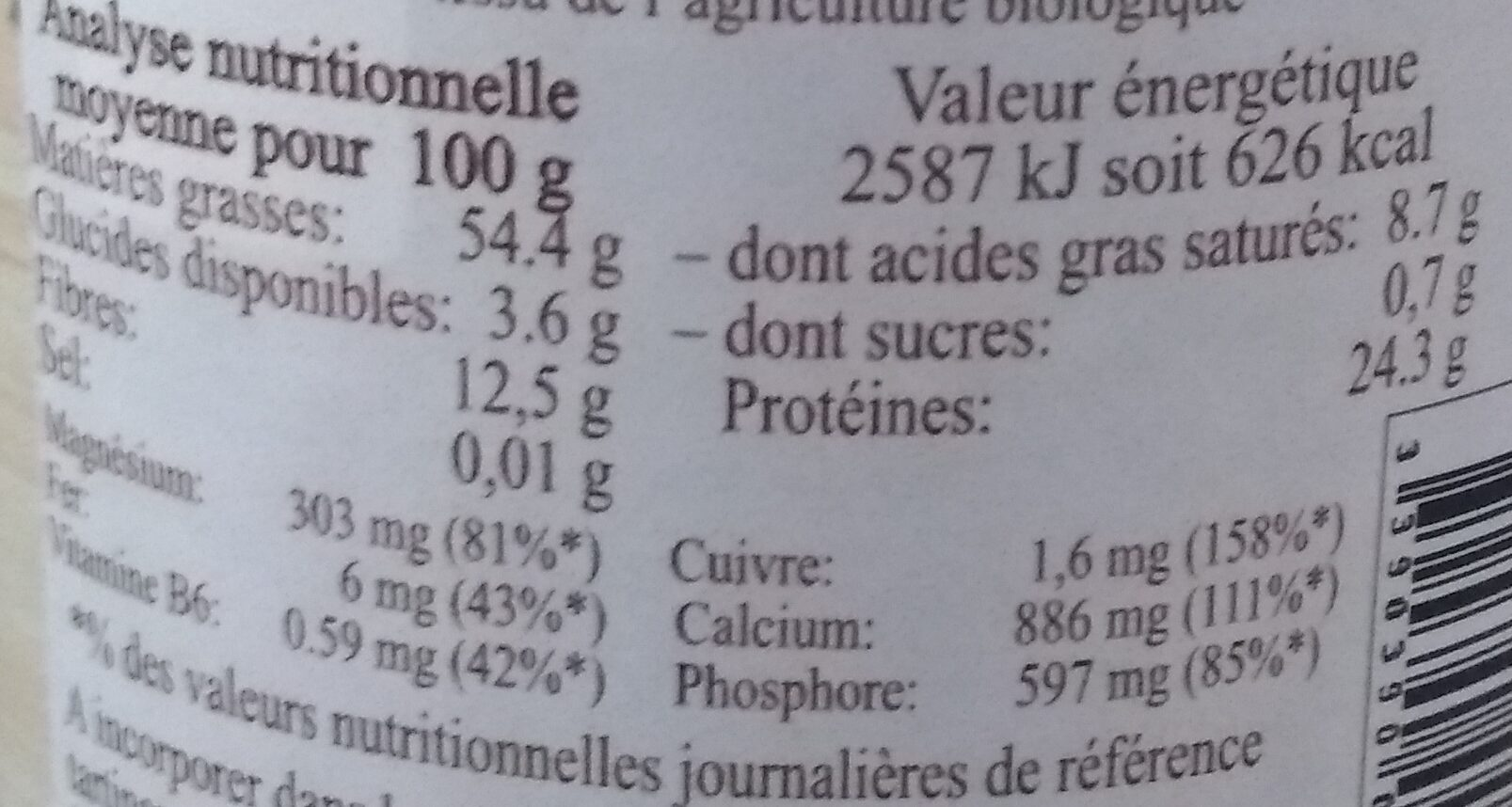 Crème sésame noir - Nutrition facts - fr