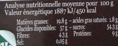 Pâte d'amande bio au café moulu - Nutrition facts - fr