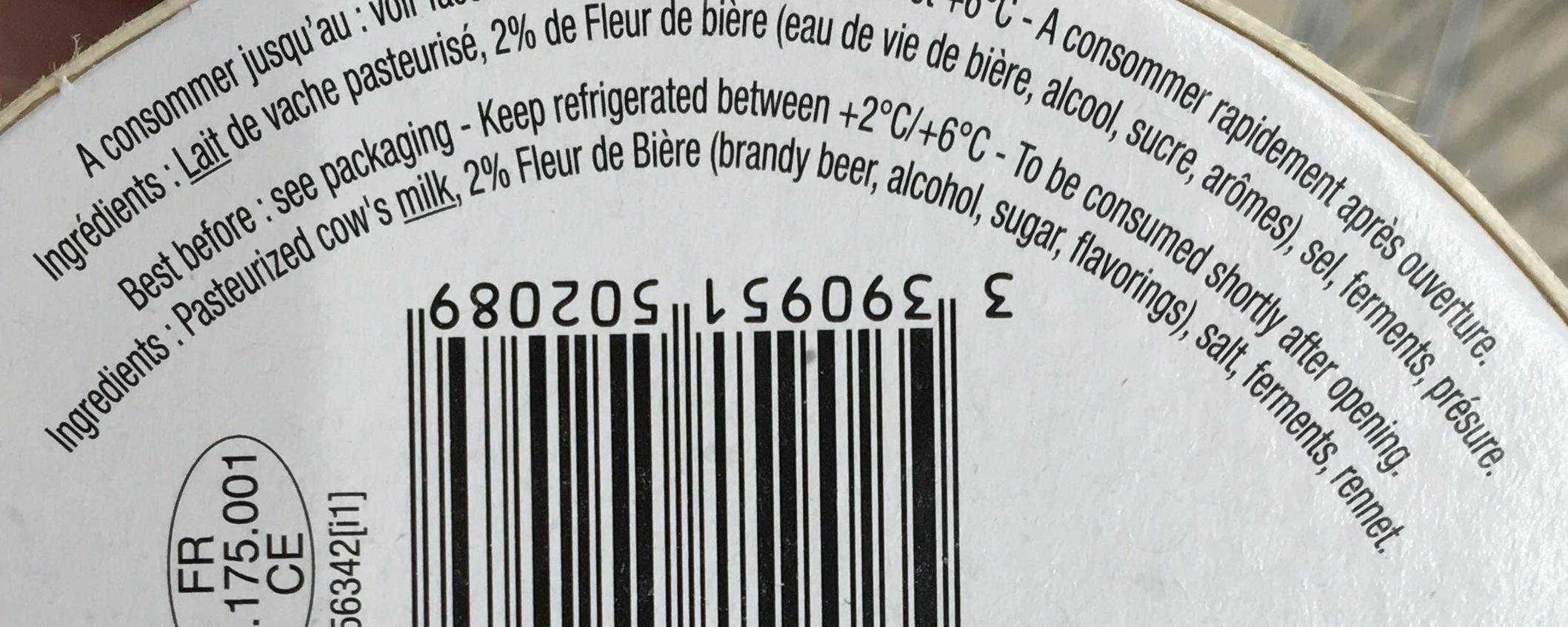 Fromage à la fleur de Bière (28% MG) - Ingredients