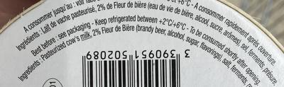 Fromage à la fleur de Bière (28% MG) - Ingrédients - fr