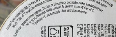 Fromage à la fleur de Bière (28% MG) - Ingrediënten