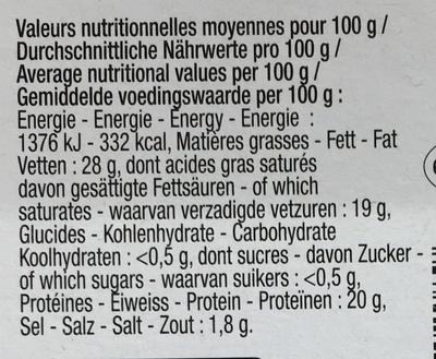 Fromage à la fleur de Bière (28% MG) - Nutrition facts
