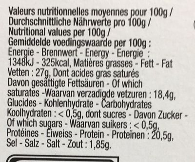 Fromage affiné au Marc de Gewürztraminer (27% MG) - Informations nutritionnelles - fr