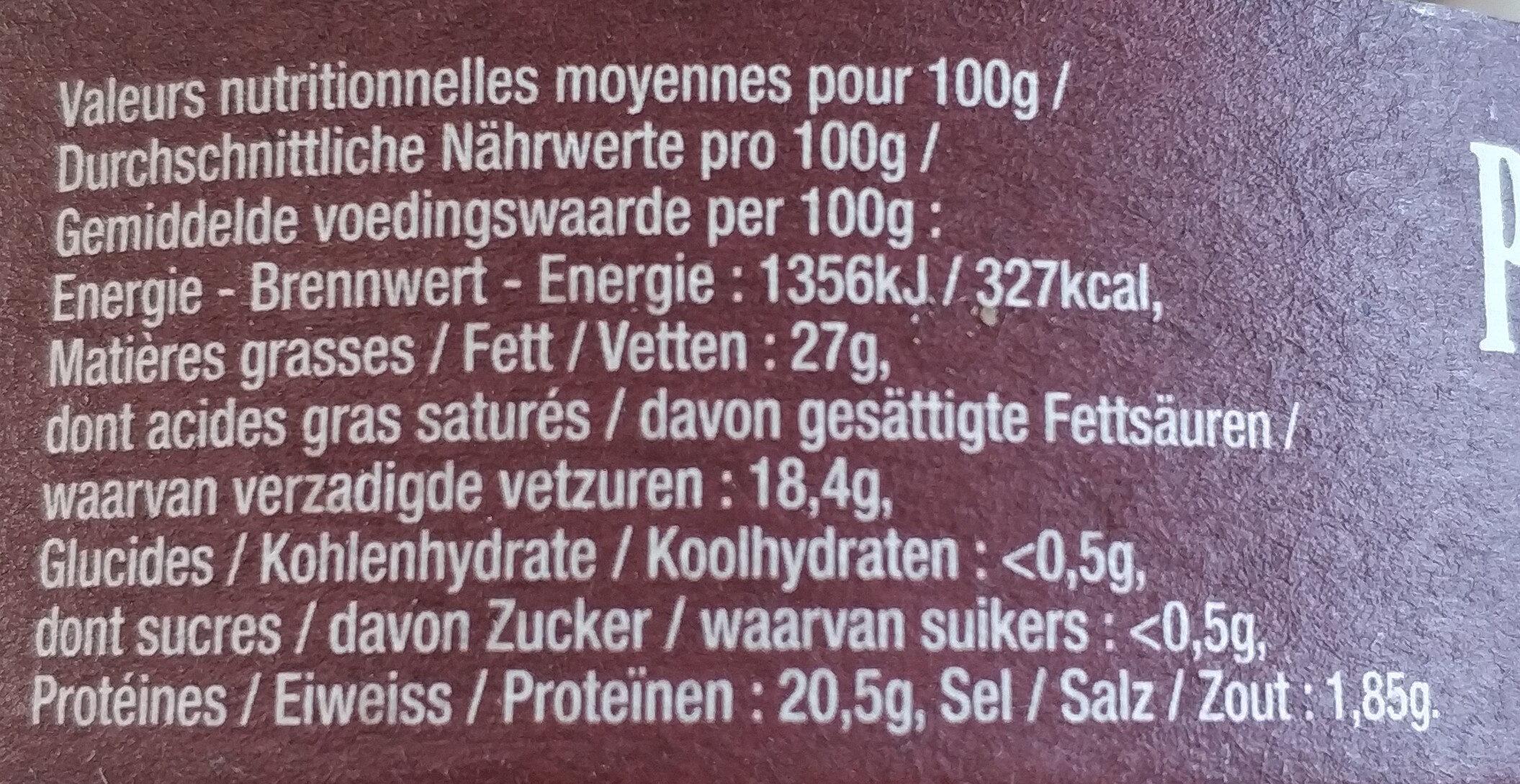 Petit Munster Gérome - Informations nutritionnelles
