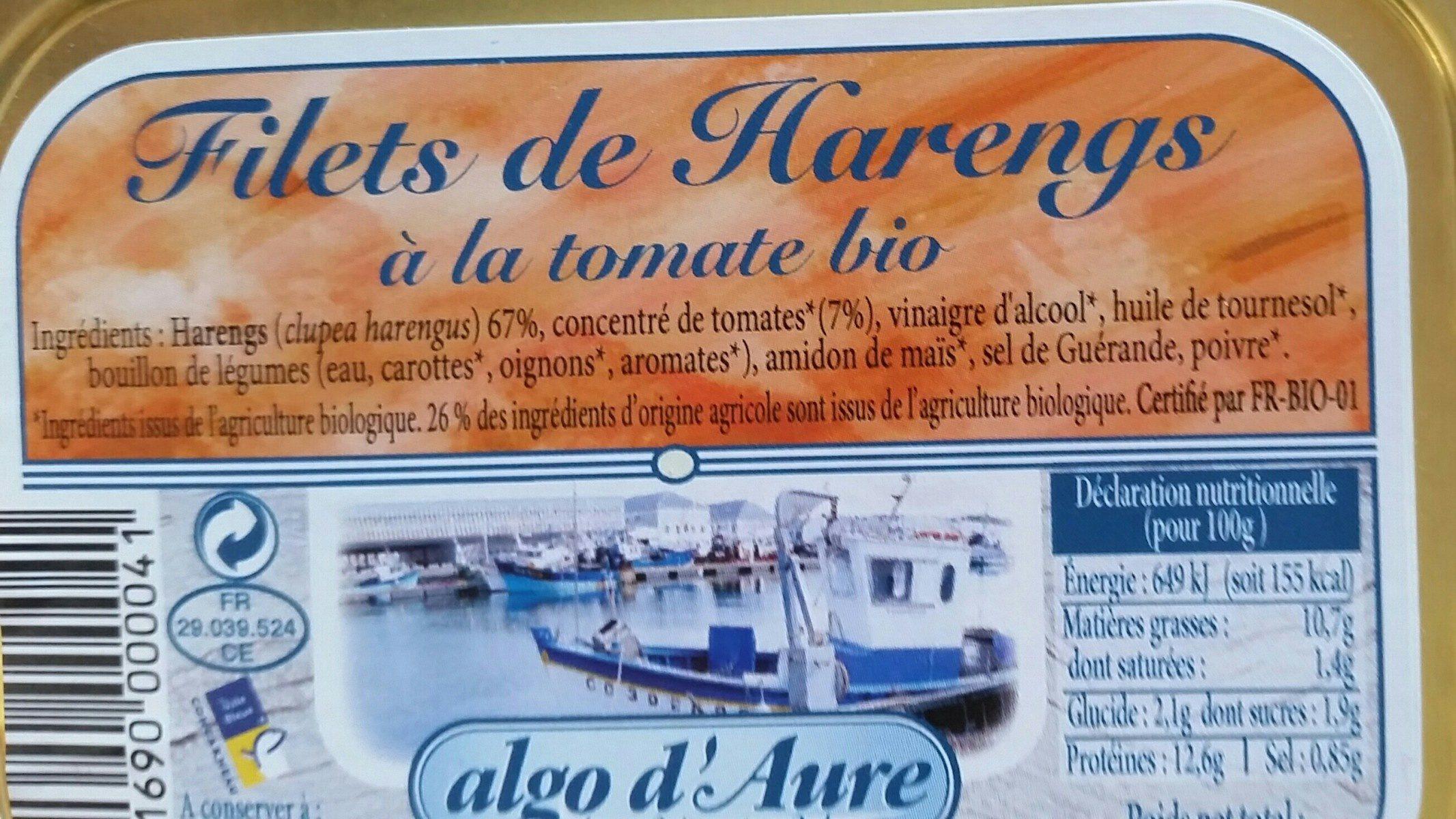 Filets de harengs à la tomate bio - Ingrédients - fr