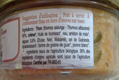 Rillettes De Thon Aux 3 Algues - Ingrédients