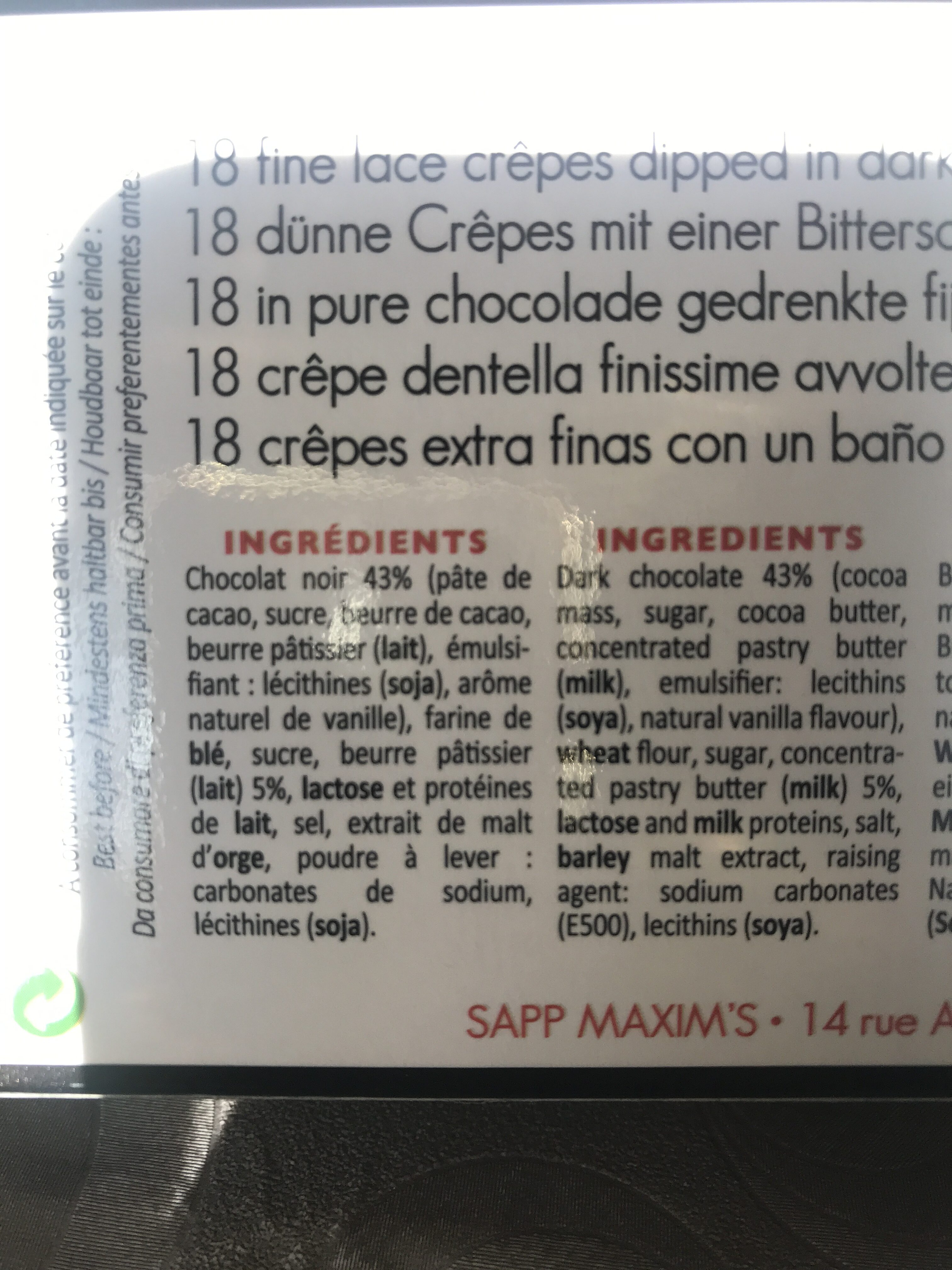 18 Fines Crêpes Dentelle Enrobées De Chocolat Noir - Ingredients - fr