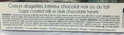 Cœurs Craquants Chocolat Noir ou au Lait - Ingrédients