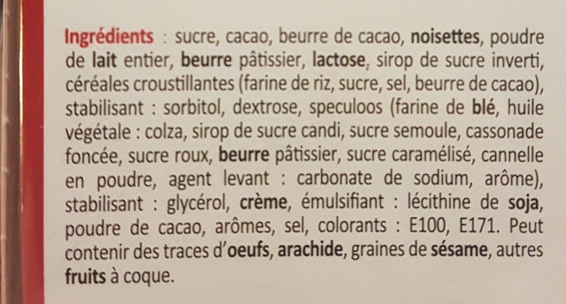 Assortiment de chocolats Maxims - Ingrédients