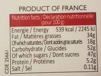 Assortiment de chocolats Maxims - Informations nutritionnelles
