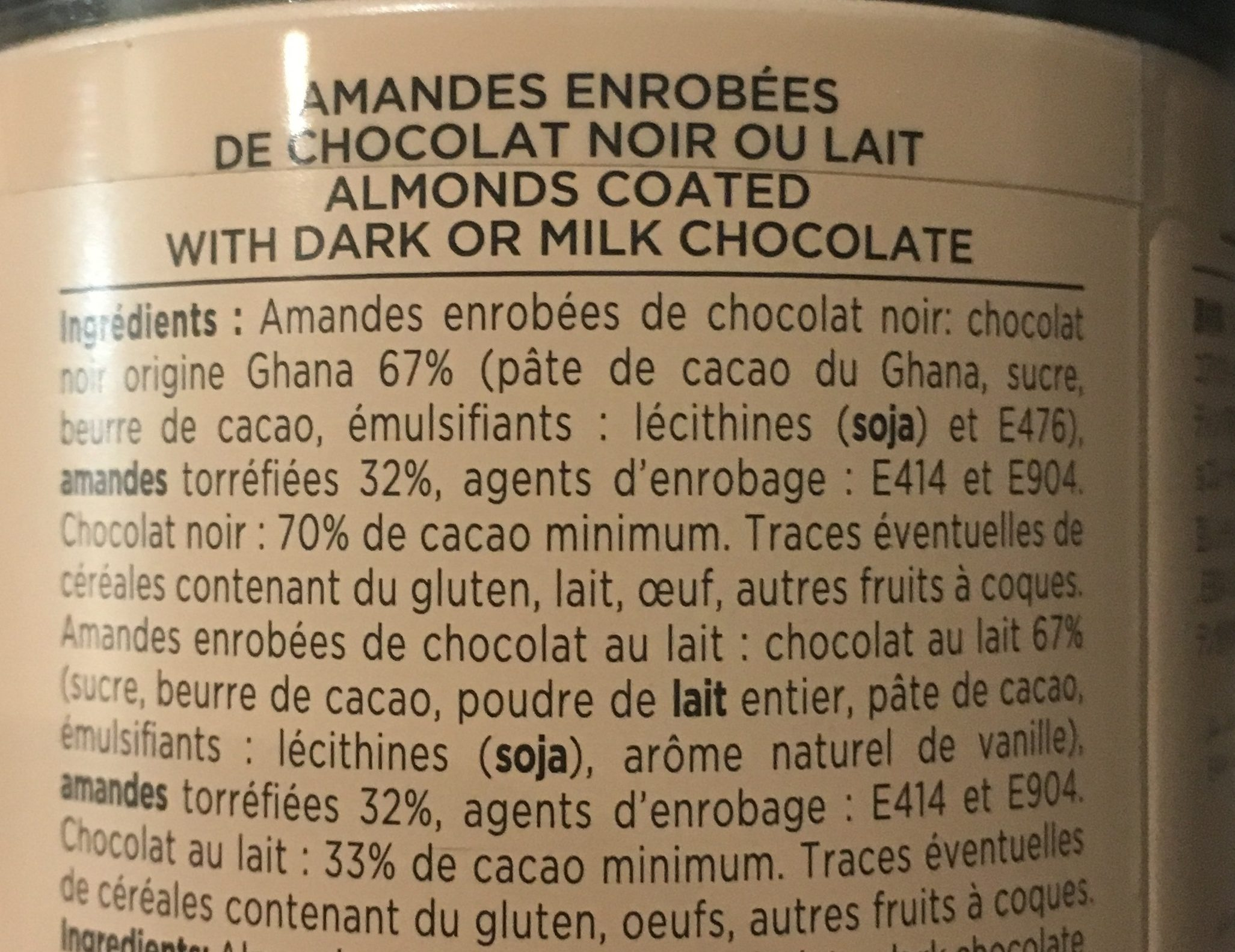 Amandes enrobees de chocolat - Ingrédients - fr