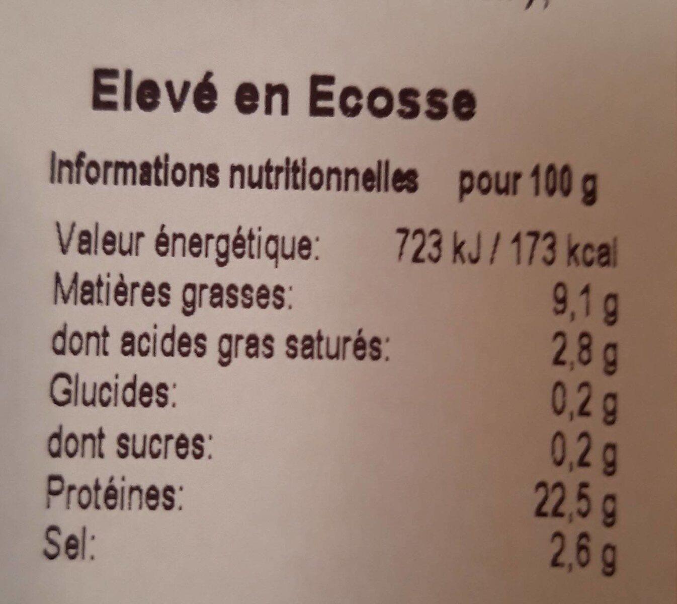 Saumon écossais fumé - Nutrition facts - fr