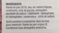 Allumettes de jambon - Ingrédients