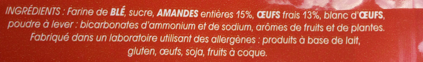 Le Croquet aux amandes entières - Ingrédients