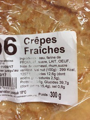 Crêpes fraiches - Ingrediënten