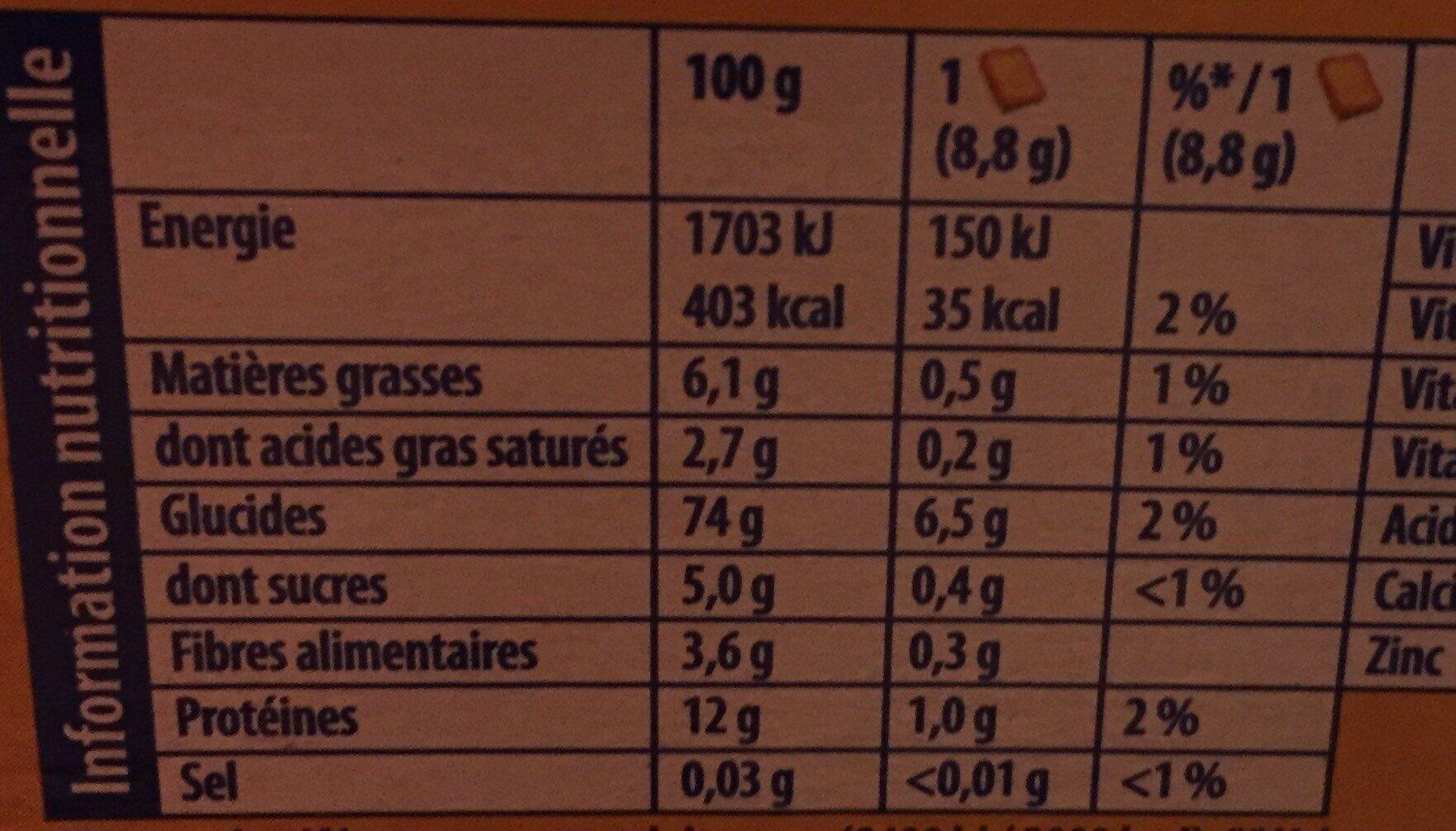 Heudebert biscottes sans sel ajouté - Nutrition facts - fr